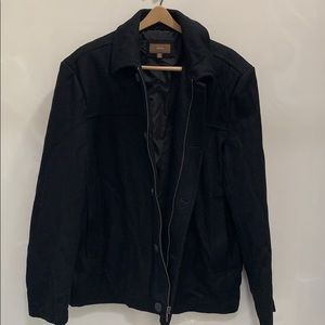Black Wool Zip and Button Jacket